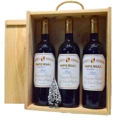 Ερυθροί οίνοι 3 Imperial  en caja de madera